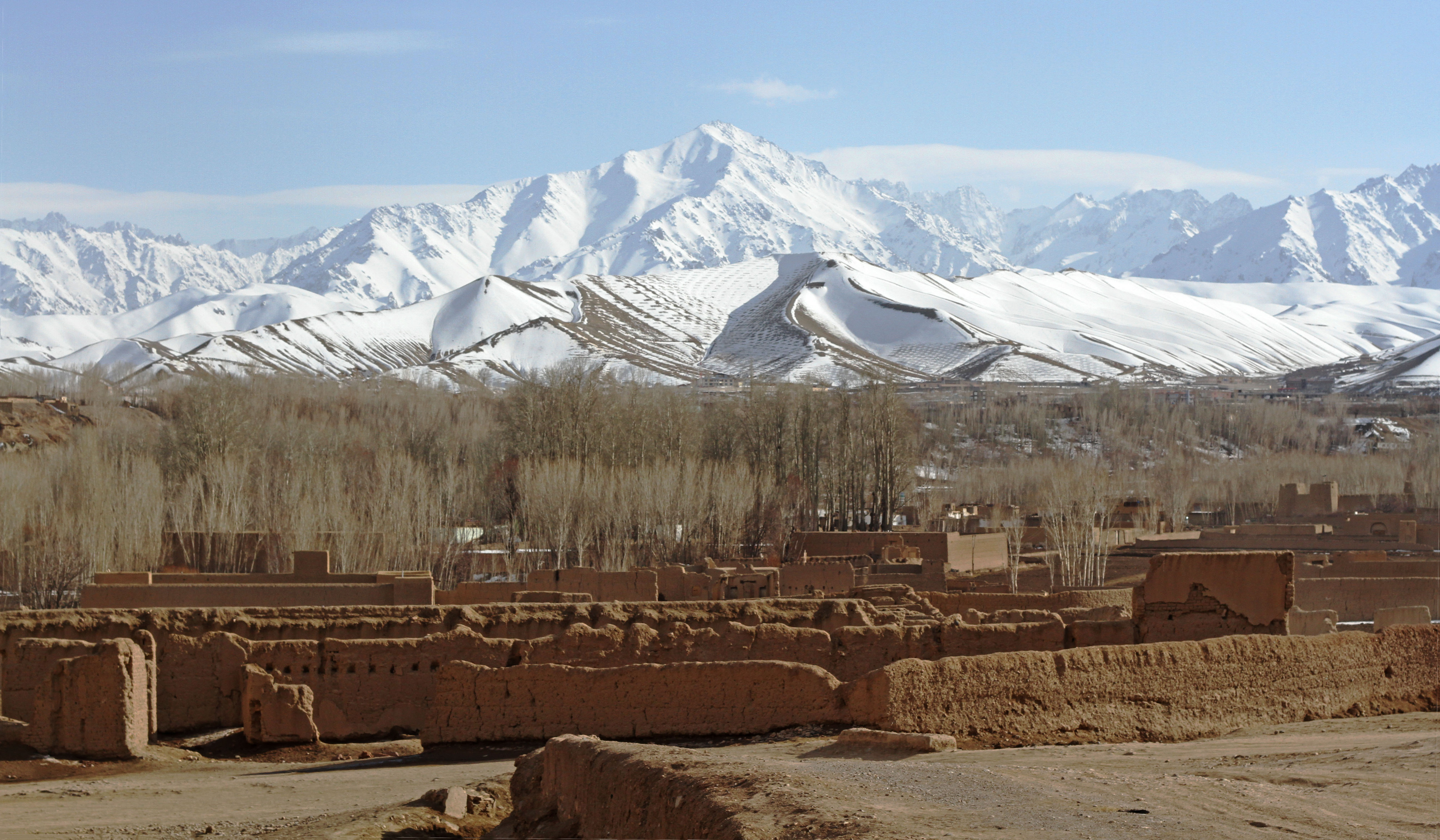 Mountain scenery of Bamiyan former Buddhist pilgrim centre go skiing in Afghanistan