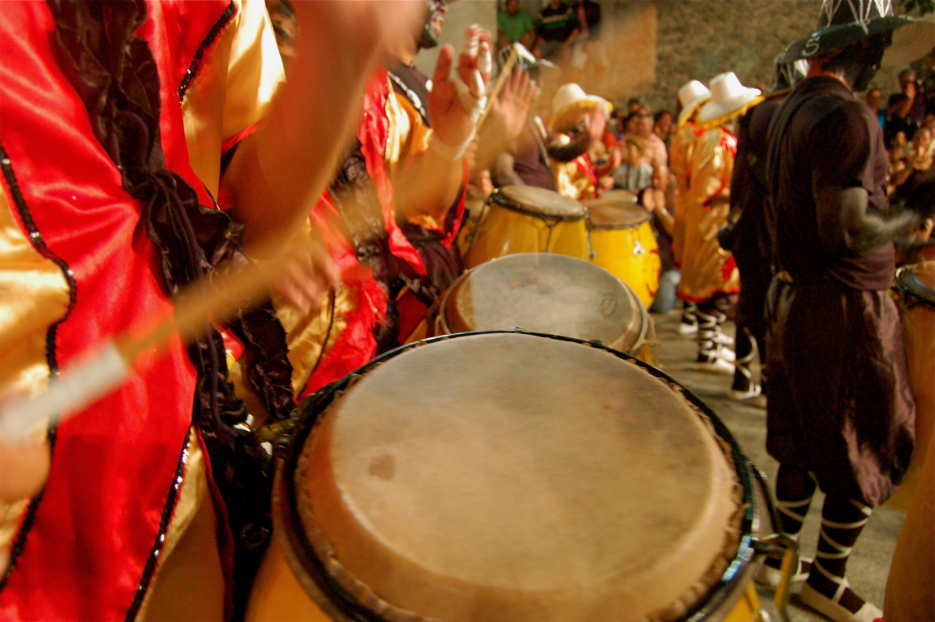 Bongo drums in Bahia Brazil Candomble ceremonies strong African identity