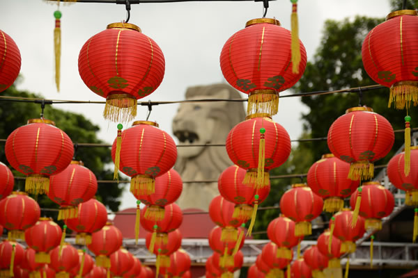 Red Chinese lanterns for the Chinese New Year of the rooster