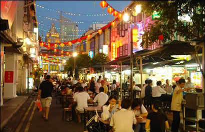 Singapore streets at night