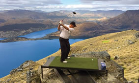 Golf course close to Queenstown and the aqua-blue Lake Wakatipu helicopter access only
