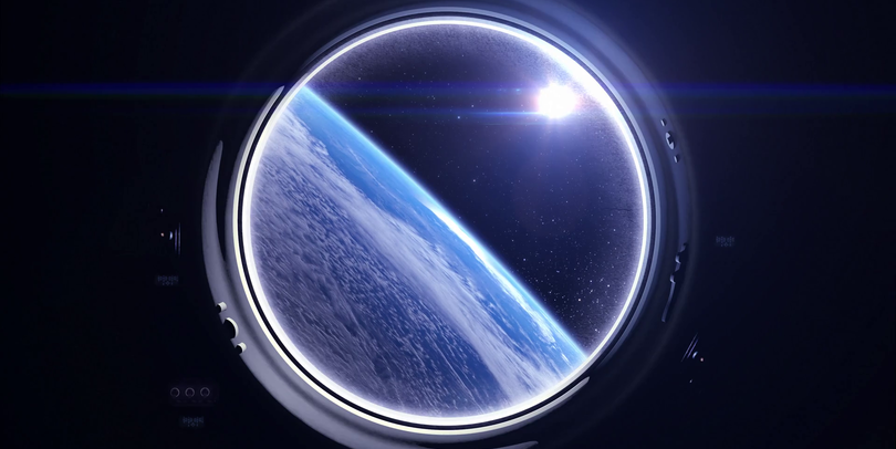 Porthole view of Earth from space
