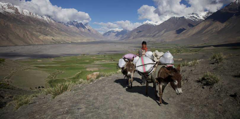 Donkey ride in Wakhan Corridor, in Afghanistan