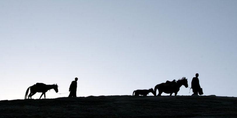 Walking the horses, Wakhan Corridor, in Afghanistan