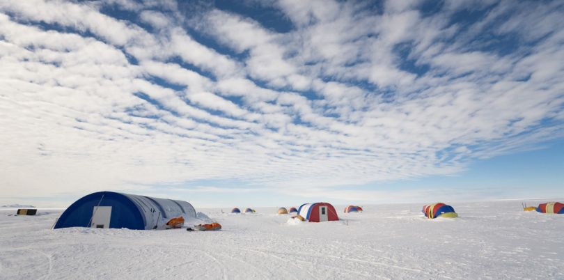 Group expeditions in tents, in Antarctica