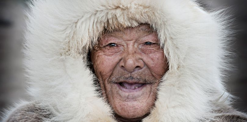 Smiling eskimo in the Arctic