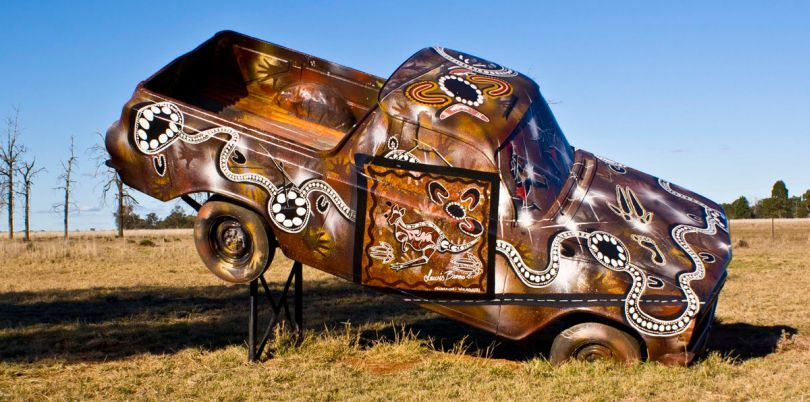 Car art installation, Burrawang west station, Australia