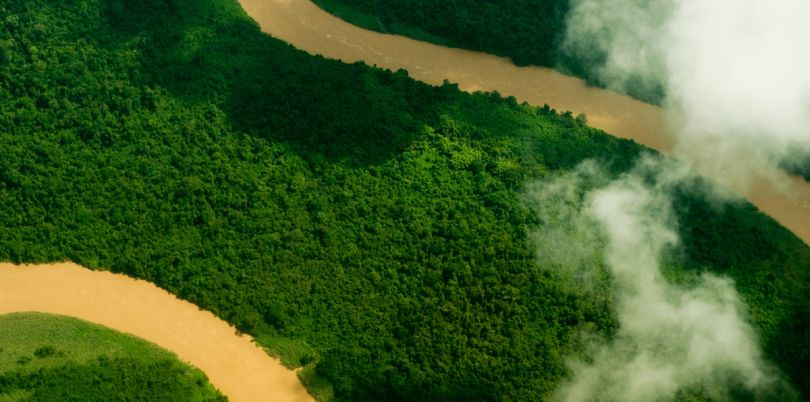 Aerial shot of landscape with river in Borneo