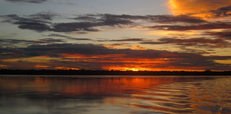 Amazon sunset on the way to Manaus in Brazil