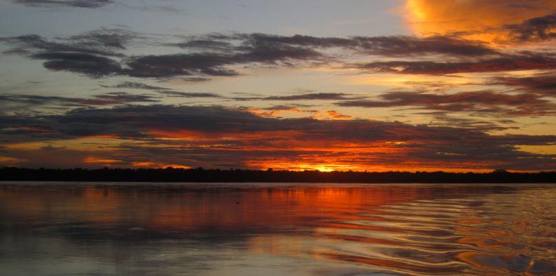 Amazon sunset on the way to Manaus, Brazil