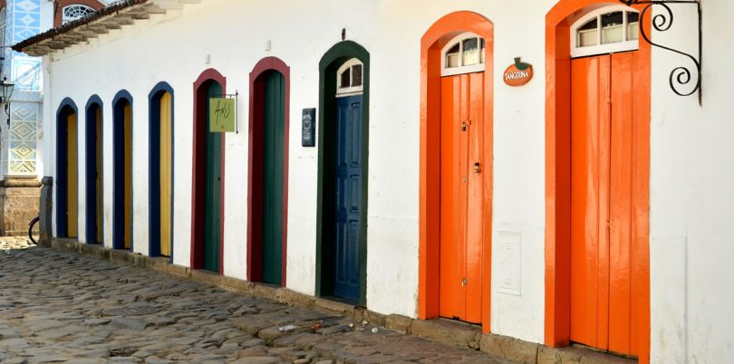 Colourful doors in a Brazillian city