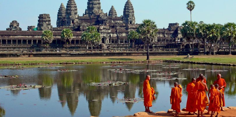 Monks hanging out at Angkor Wat, Cambodia