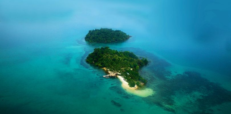Aerial shot of private Cambodian islands