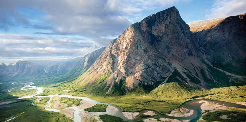 Mountain range with river beautiful Canadian landscape