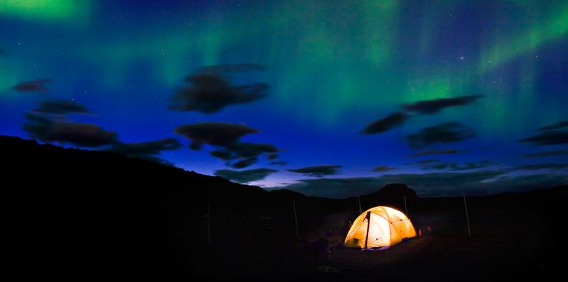 Tent under northern lights, Canada