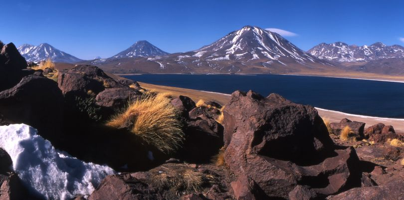 View of a lake in the mountains of the Atacama desert in Chile