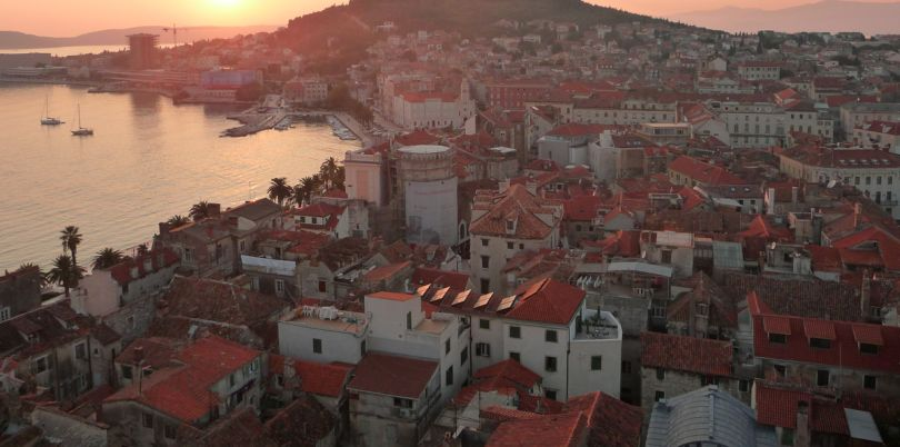 Overlook of a city in Croatia at sunset