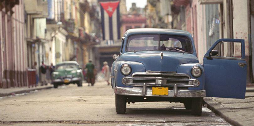 Blue car in Cuba