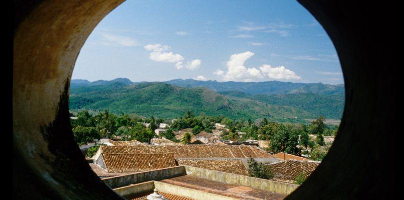View through circular window, Cuba