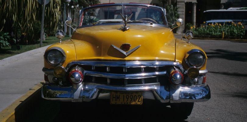 Yellow car in Cuba