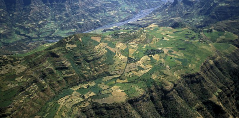 Aerial shot of Ethiopian mountains