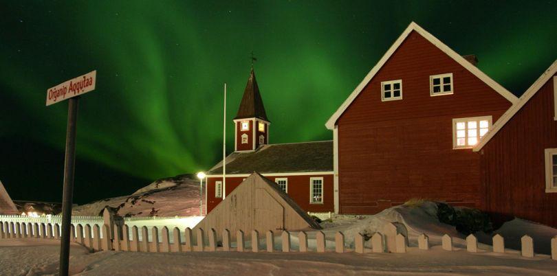 Northern Lights behind a house, Organip, Aggutaa, Greenland