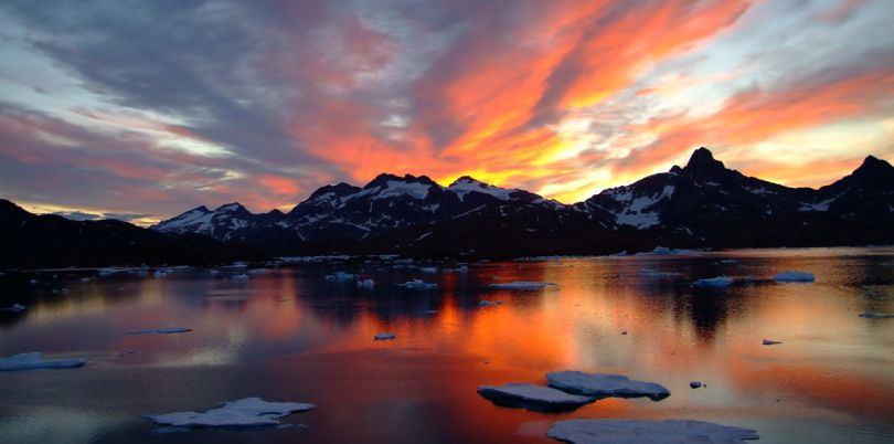 Sunset over melting ice in Greenland