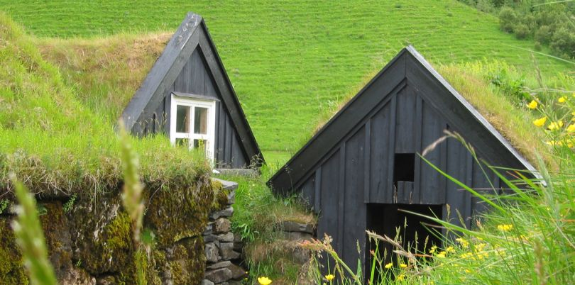 Houses with lawn rooves, Iceland