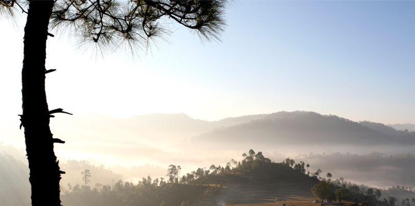Sunrise and mist over Kumaoni hills, India