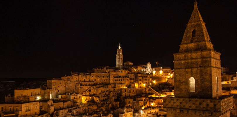 Italian town at night
