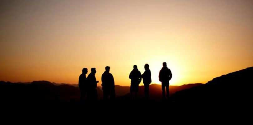 Sunset with men chatting, Jordan