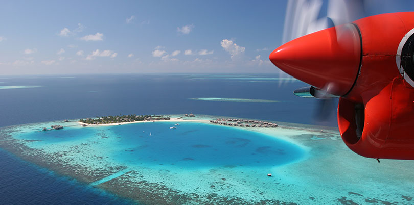 View down on Maldive islands from plane