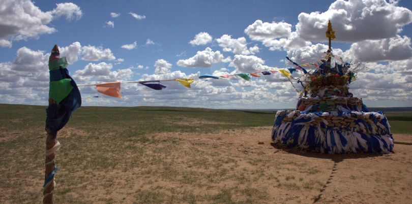 Prayer flags in the middle of the Mongolian desert, Mongolia