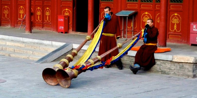Mongolian men playing instruments, Mongolia