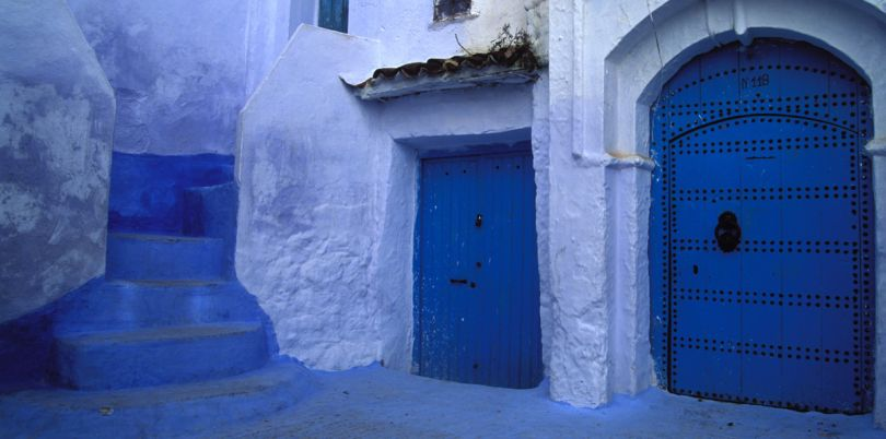 Blue doors and stairs, Morocco