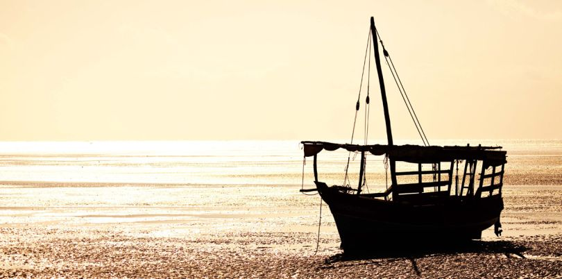 Sillouette of a boat, Mozambique