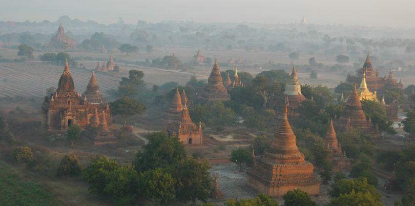 Aerial shot of temples of Bagan, Myanmar