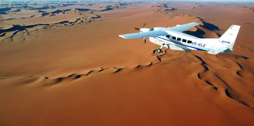 Small charter flight over Namibia