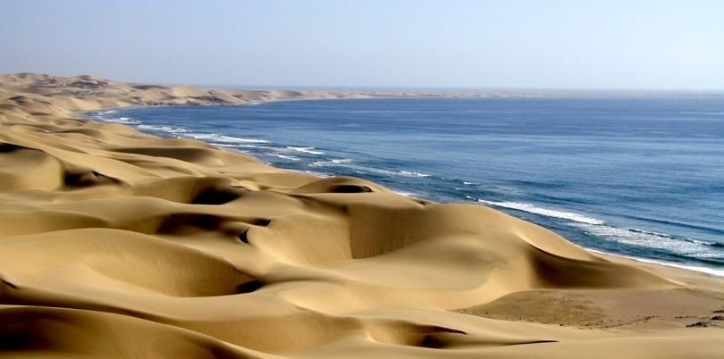 Skeleton coast with dunes and sea, Namibia