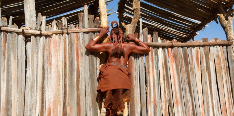A member of the Himba tribe's back, Namibia