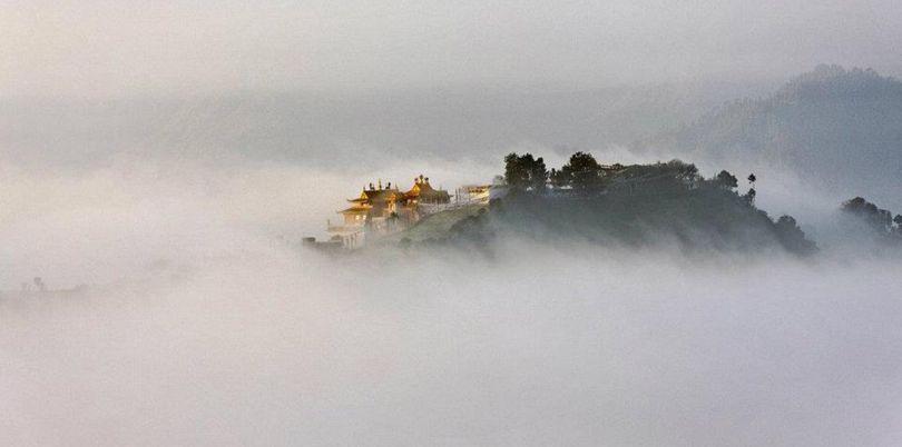 Misty hilltop city, Nepal