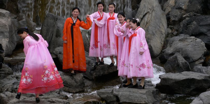 Girls in traditional dress at the Pyongyang Fountain Park, North Korea
