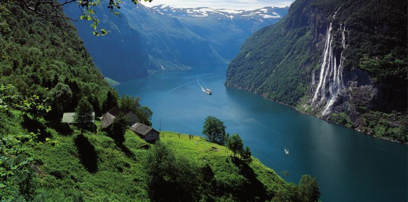 Boat going down river, Norway