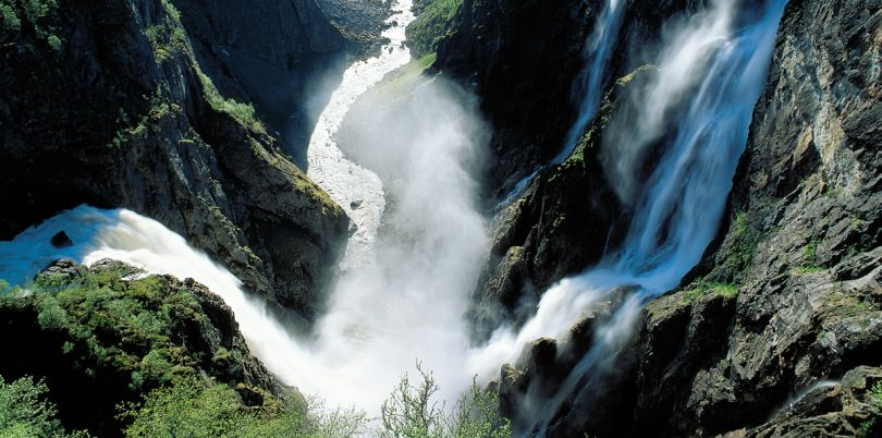 River mendering down the valleys with waterfalls, Norway