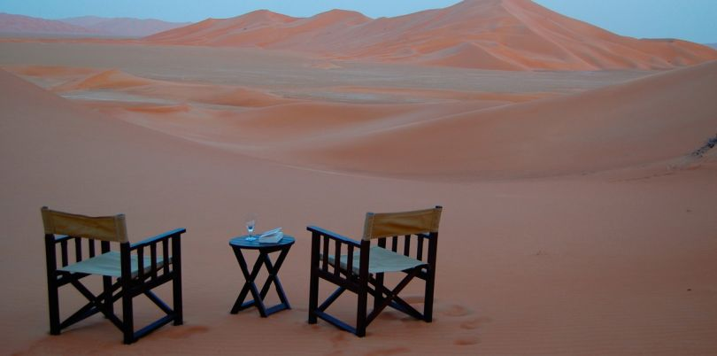Romantic dinner for two on the dunes, Oman