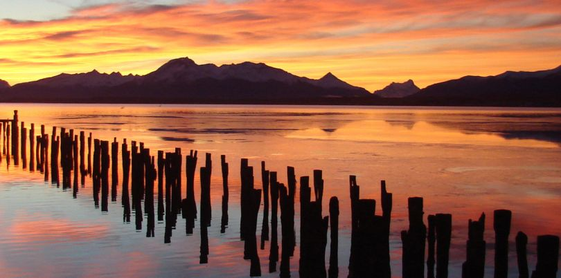 Sunset lake view in Puerto Natales of Chilean Patagonia