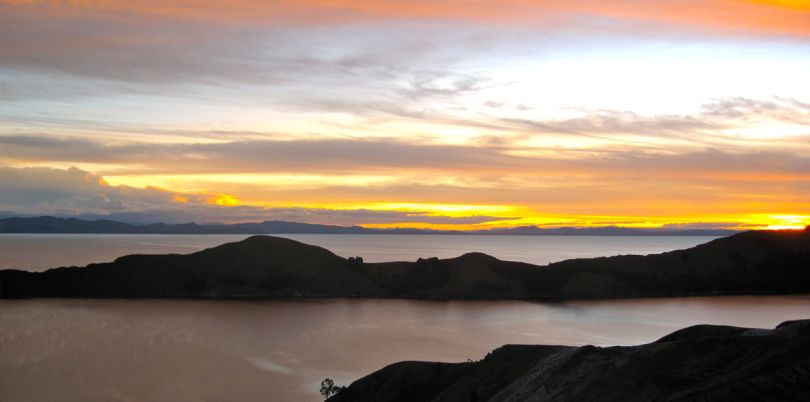 Sunset over Isle de Sol, Lake Titicaca, Peru