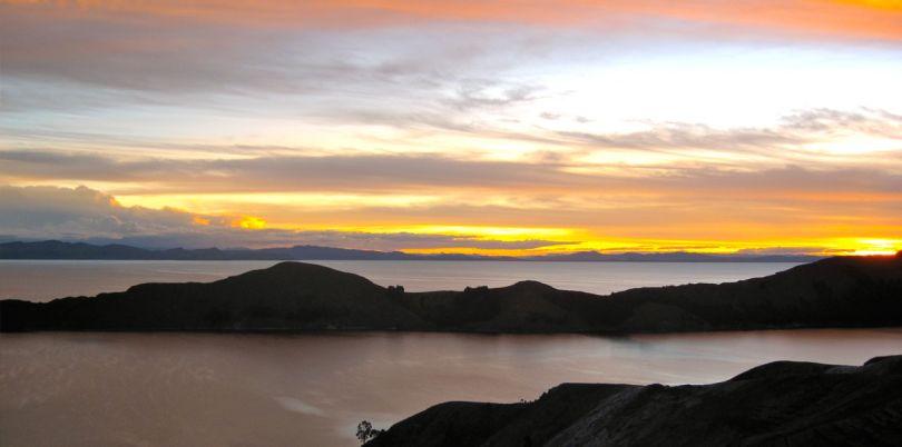 Sunset over Isle de Sol, Lake Titicaca, Peru