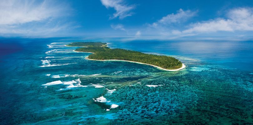 Aerial shot of Desroches Island in the Seychelles