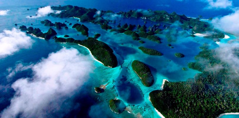 Aerial shot of the Solomon Islands